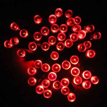 50 LED light string red