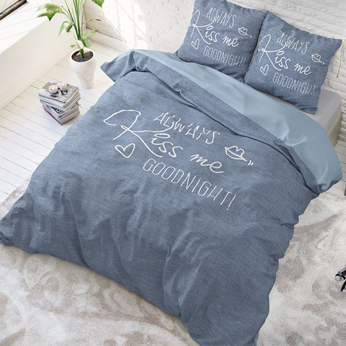 bedding bed linen always kiss me blue 135x200